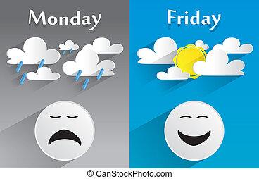 Sentimiento conceptual de lunes a viernes