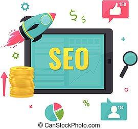 SEO, concepto de marketing online.