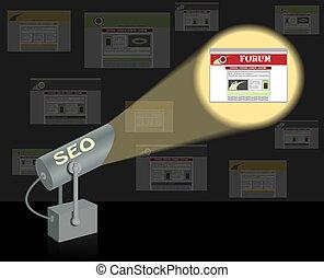 Seo-searchlight. Buscar un concepto de optimización.