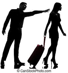 separación, mujer, silueta, plano de fondo, disputa, pareja, salida, aislado, espalda, estudio, tenencia, blanco, uno, caucásico, hombre