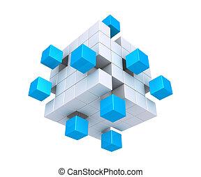 separado, cubos, cuadrado, objeto