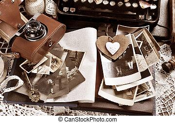 sepia, fotografías, todavía, viejo, vida, cámara, estilo, vendimia