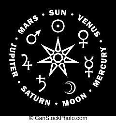 Septener. Estrella de los magos. Siete planetas de astrología.