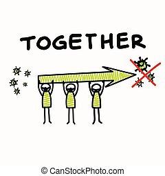 ser, affects, cada, viral, dont, positivo, estancia, gráfico, considerado, worl, infographic., everyone., bandera, de par en par, corona, virus, pandemia, ayuda, covid, clip, stickman, otro, cartel, tacto, 19, clase, art., apoyo comunidad