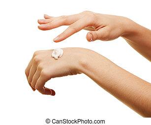 ser aplicable, niña, ella, belleza, algunos, loción, mano, blanco