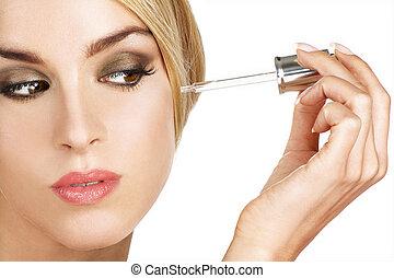 ser aplicable, piel, modelo, tratamiento, suero, hermoso
