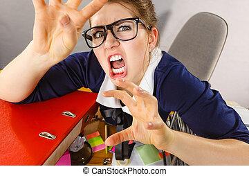 ser, enojado, mujer de negocios, mandón, furioso, enojado