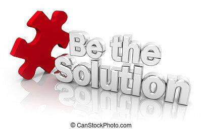 Ser la solución solucionador de problemas pieza de rompecabezas palabras 3D ilustración