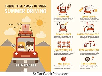 ser, sobre, conducción, verano, cosas, cuándo, carácter, consciente, infographics, caricatura