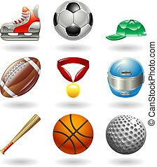 serie, conjunto, deportes, icono, brillante
