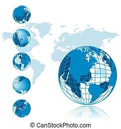 serie, globo, 3d, mapa, mundo