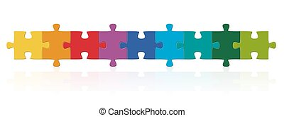serie, rompecabezas, coloreado, pedazos