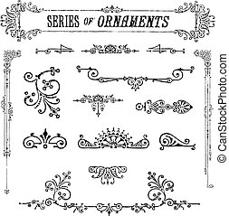 serie, vector, ornamentos, vendimia