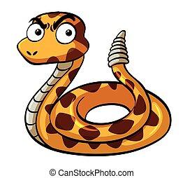 serio, cara, serpiente de cascabel