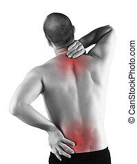 serio, dolor, espalda