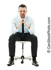 serio, silla, hombre de negocios, sentado