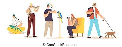 serpiente, hembra, mascotas, parrot., tropical, macho, lagarto, mono, caracteres, araña, cuidado, animales, exótico, o, gente