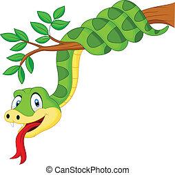 Serpiente verde caricatura en rama