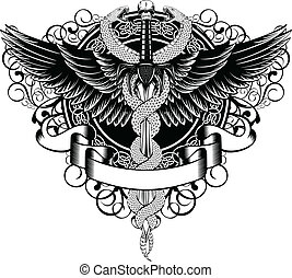 serpientes, fantasía, alas, espada, patrones