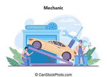 service., profesional, automóvil, tool., coche, utilizar, idea, reparación, gente