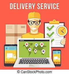 Servicio de entrega, correo, paquete