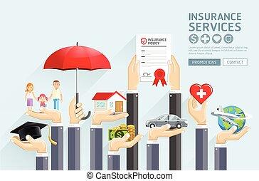 Servicio de seguros. Ilustraciones de vectores.