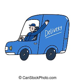 servicio, ilustración, tipo, coche, vector, entrega, azul