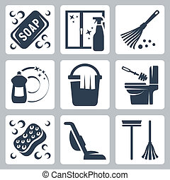 servicio, jabón, líquido, dishwashing, limpiador, iconos, plumero, esponja, friegue cubo, rubor, ventana, vector, limpiar tela, vacío, set:, servicio, cepillo