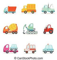 Servicio público, construcción y coches de trabajo de carretera conjunto de colores dibujos animados