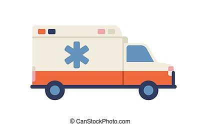 servicio, plano de fondo, rescate, vector, plano, vehicle., lado, estrella, ambulancia, assistance., emergencia, médico, van., emblem., ayuda, paramédico, coche, médico, vista, ilustración, blanco, camión, aislado, vida