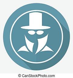servicio, secreto, largo, suit., agente, sombra, hombre, icono