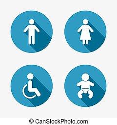 servicio, wc, hembra, icons., humano, macho, o, signs.