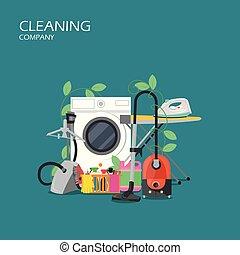 Servicios de limpieza vector de diseño de diseño plano