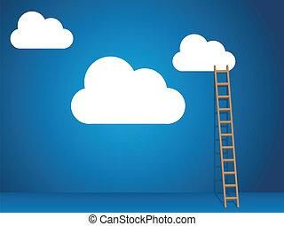 Servicios de nubes con nubes y escaleras