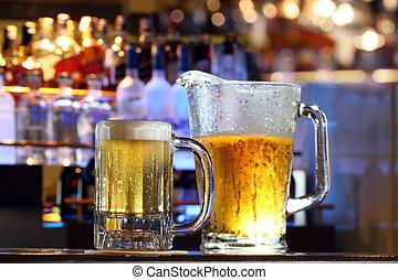 servido, cerveza, barra