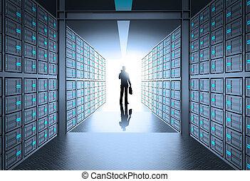 servidor, empresa / negocio, red, engeneer, hombre, 3d, habitación, concepto