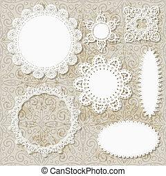 servilleta, seamless, patrones, vector, diseño, plano de fondo, de encaje, grungy, álbum de recortes