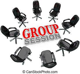 Sesión de reunión de grupos en círculo para discusión