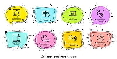 set., correo, iconos, pelota, como, refrescar, vector, idea, en línea, puntas, signs., rápido, estadística, elefante