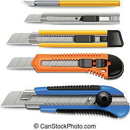 set., cortador, iconos