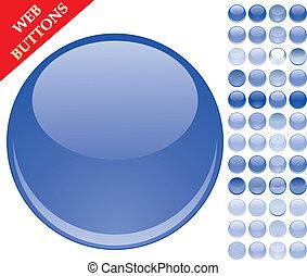 Set de 49 botones de vidrio azul, íconos brillantes, esferas web, ilustración vectora