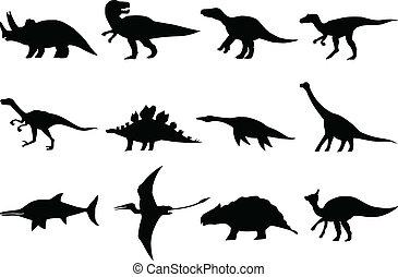 Set de diferentes dinosaurios
