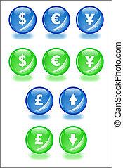 Set de esferas vectoras con iconos de sombra para los temas comerciales. Fácil de editar, de cualquier tamaño. Aqua Web 2.0.
