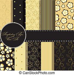 Set de hermoso vector dorado y papel negro para el álbum de recortes