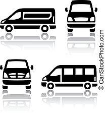 Set de iconos de transporte - camioneta de carga