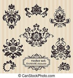 Set de ilustraciones de DAMASK para su diseño, invitación, saludos en vector