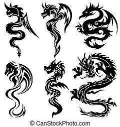 Set de los dragones chinos, tribales