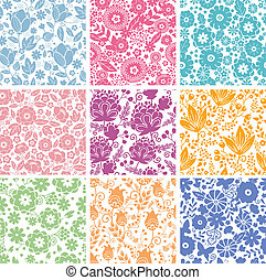Set de nueve flores abstractas, patrones sin manchas de fondo