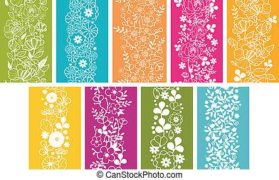 Set de nueve flores de primavera, patrones verticales, bordes