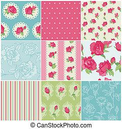 Set de rosas florales sin costura en vector